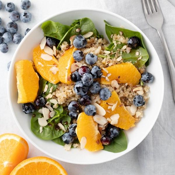 Quinoa, Orange & Blueberry Breakfast Salad with Almonds