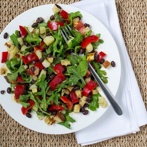 Roasted Sweet Potato & Black Bean Salad with Arugula & Bell Pepper