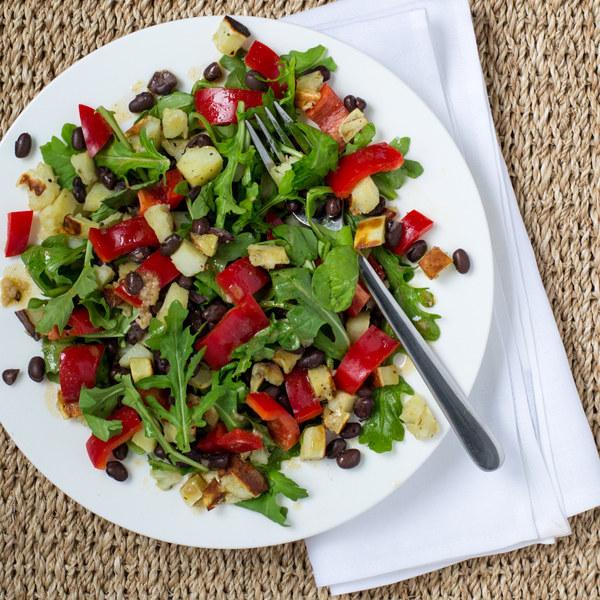Roasted Sweet Potato & Black Bean Salad with Arugula & Bell Pepper