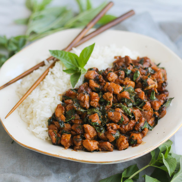 Spicy Thai Basil Chicken with Baby Spinach & Rice