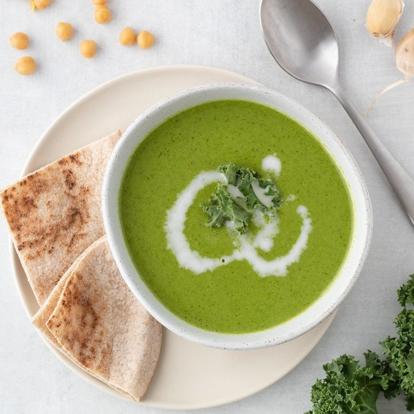 Creamy Curried Kale, Coconut & Chickpea Soup