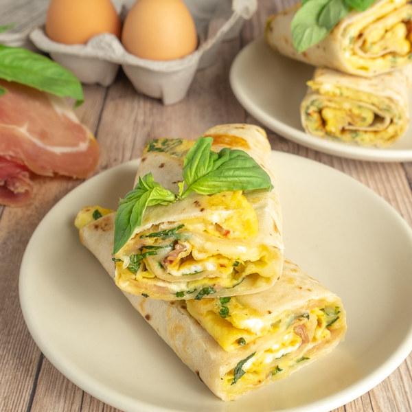 Tortilla Egg Roll with Prosciutto, Mozzarella & Basil