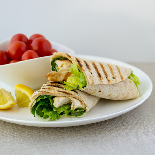 Grilled Chicken Caesar Wrap with Grape Tomatoes