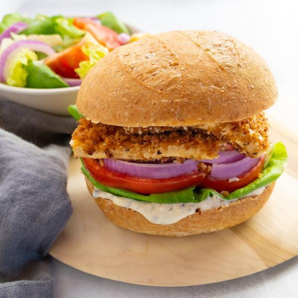 Crispy Tofu Sandwich with Garlic-Tartar Sauce & Side Salad