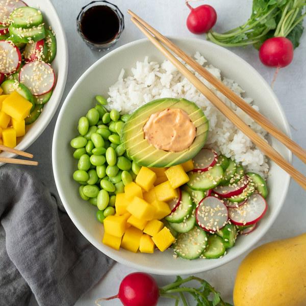 Ginger Rice Bowl with Edamame, Mango, Avocado & Spicy Mayo