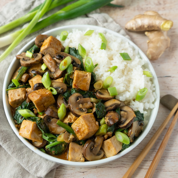 Spicy Vegan Mapo Tofu with Mushrooms, Spinach & Green Onion