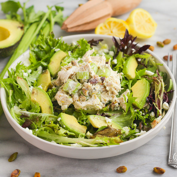 Poached Chicken Salad with Goat Cheese, Avocado & Pistachios
