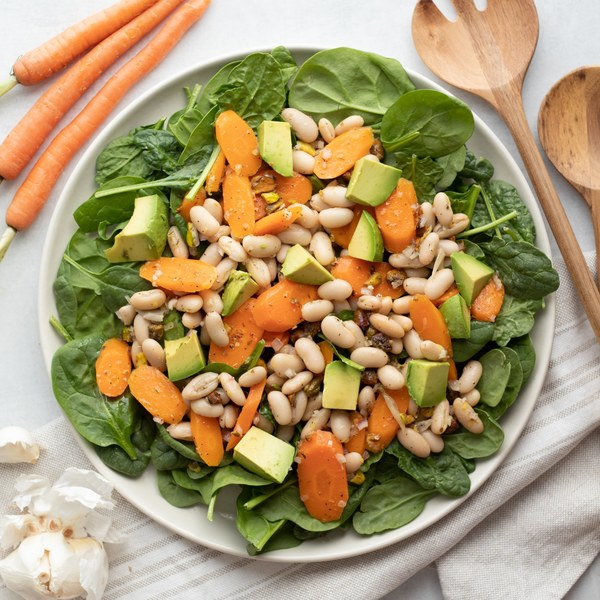 Lemony White Bean, Carrot, Avocado & Spinach Salad with Pistachios