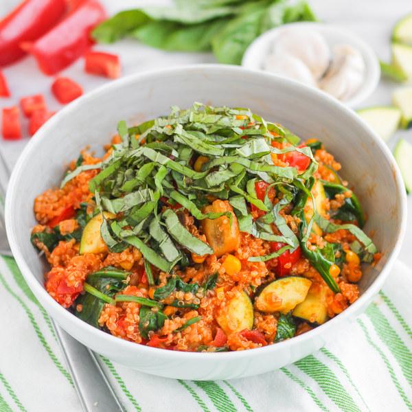 "Quinoa ""Risotto"" with Garden Veggies & Basil"
