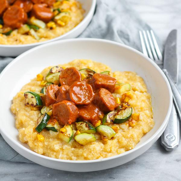 BBQ Vegan Sausage, Zucchini & Corn over Cauliflower Grits