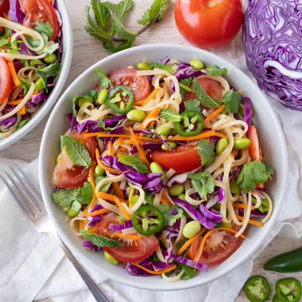 Asian Rice Noodle Salad with Edamame, Jalapeños & Fresh Herbs