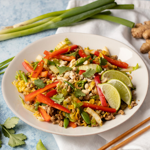 """Spicy Napa Cabbage """"Pad Thai"""" with Pork, Bell Peppers & Sugar Peas"""