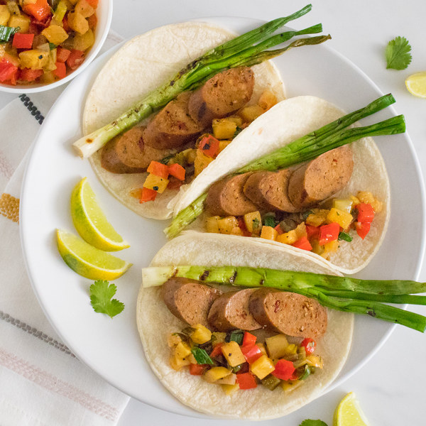 Grilled Veggie Sausage Tacos with Charred Pepper & Pineapple Salsa
