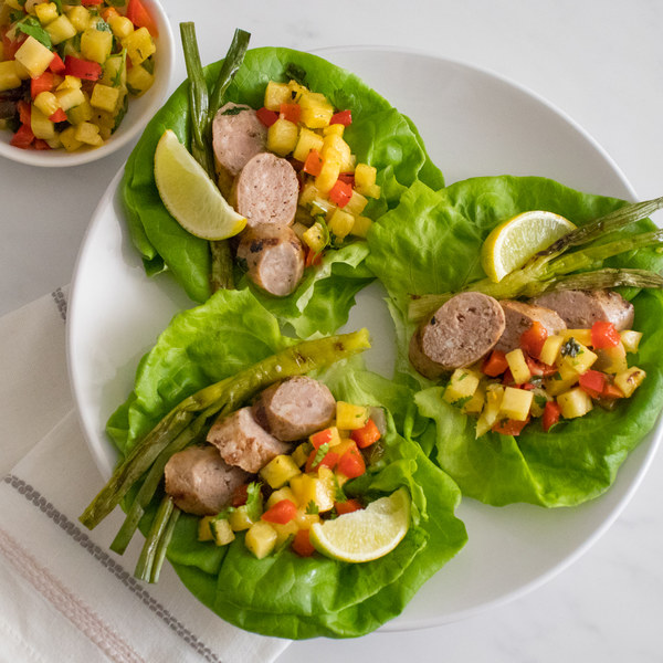 Grilled Sausage Tacos with Spicy Charred Pepper & Pineapple Salsa