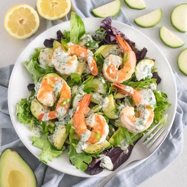 Warm Shrimp Salad with Mixed Veggies, Avocado & Lemon Caper Dressing