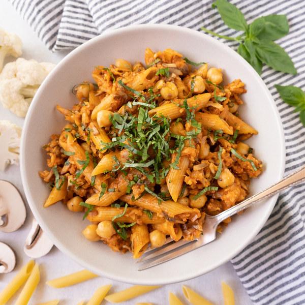 "Vegan Cauliflower-Mushroom ""Bolognese"" with Penne & Chickpeas"