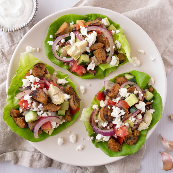 Veggie Sausage & Greek Salad Lettuce Wraps with Garlicky Yogurt Sauce