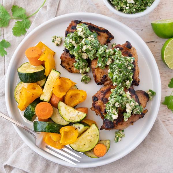Spicy Peruvian Roast Chicken & Veggies with Cilantro-Feta Salsa