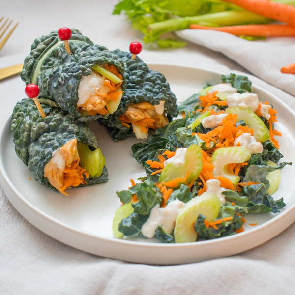 Buffalo Chicken Wraps with Kale, Carrot, Celery & Blue Cheese Salad