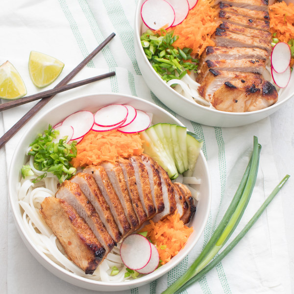 Vietnamese Pork Noodle Bowls with Carrot, Cucumber & Radish