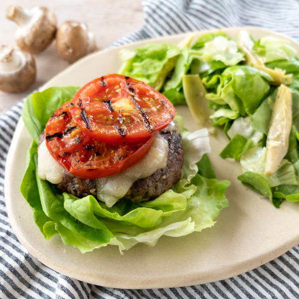Mushroom & Olive Stuffed Pizza Burger Wrap with Lemony-Artichoke Salad