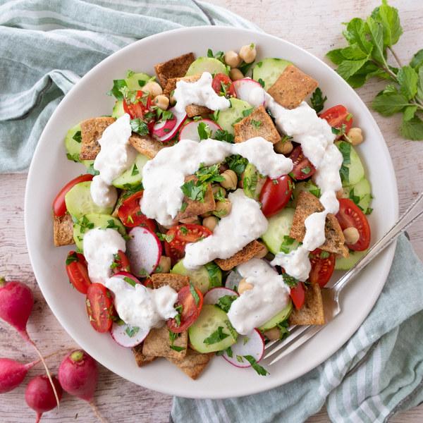 Mediterranean Chickpea & Bread Salad (Fattoush) with Feta Dressing