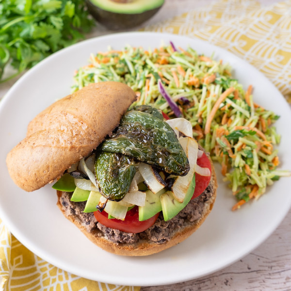 Black Bean Sandwich (Torta) with Blistered Jalapeños & Broccoli Slaw