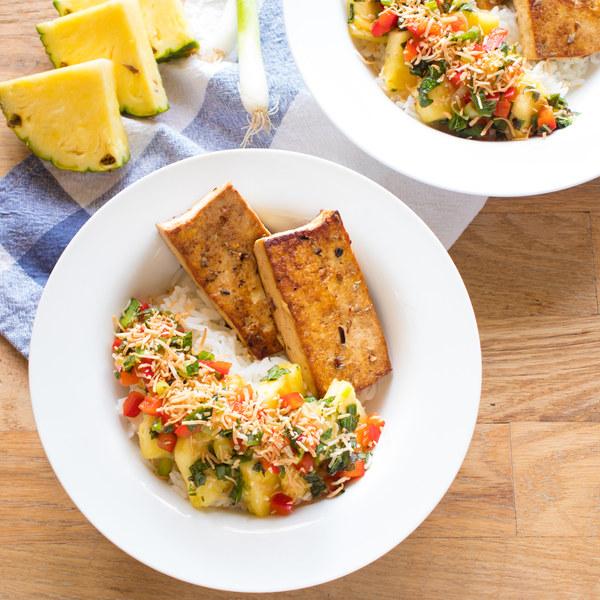 Jerk Tofu Rice Bowls with Piña Colada Salad