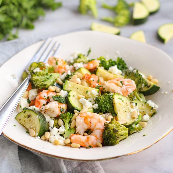 Baked Shrimp, Broccoli, Zucchini, Garlic & Feta Medley with Pine Nuts