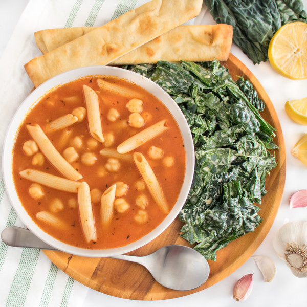 Chickpea-Tomato Noodle Soup with Kale Caesar & Breadsticks
