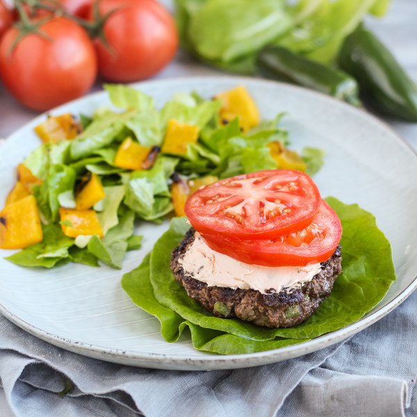"Spicy ""Jalapeño Popper"" Burger Wrap with Grilled Bell Pepper Salad"