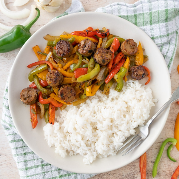 Italian-style Vegan Sausage & Mixed Pepper Skillet with Rice