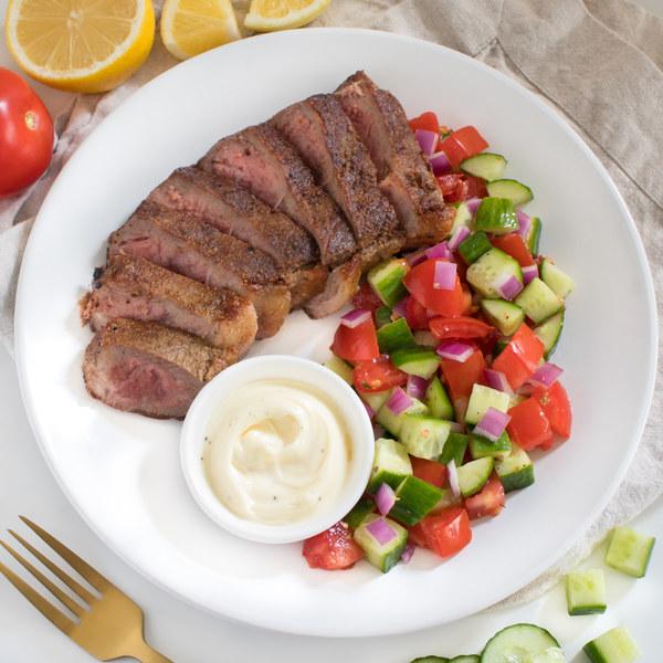 Cumin Steak with Tomato-Cucumber Salad & Garlic Sauce
