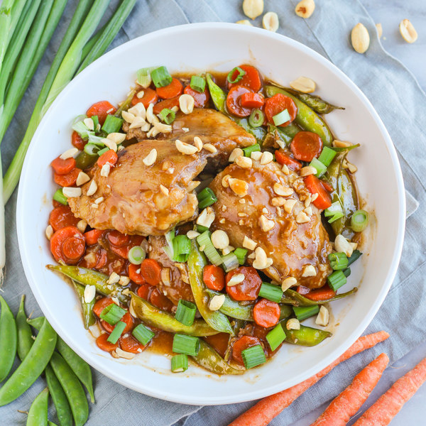 Orange-Spiced Chicken Thighs with Snap Peas, Carrots & Peanuts