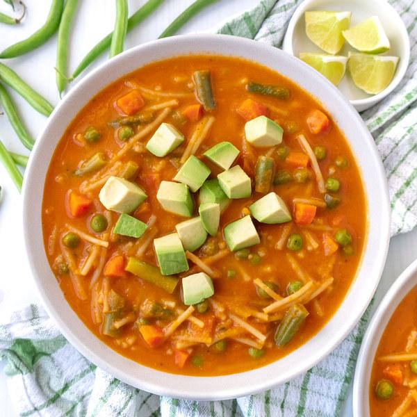 Mexican Tomato Soup (Sopa de Fideo) with Pasta, Veggies & Avocado