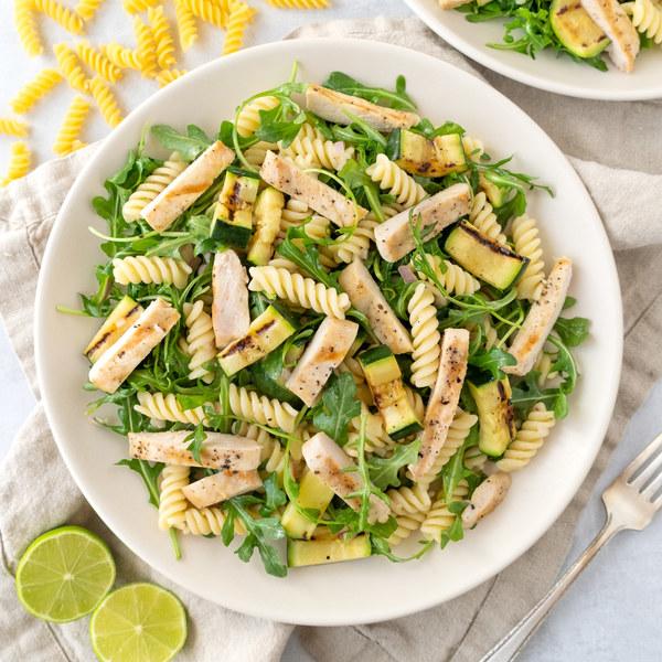 Grilled Chicken, Zucchini & Arugula Pasta Salad with Lime Vinaigrette