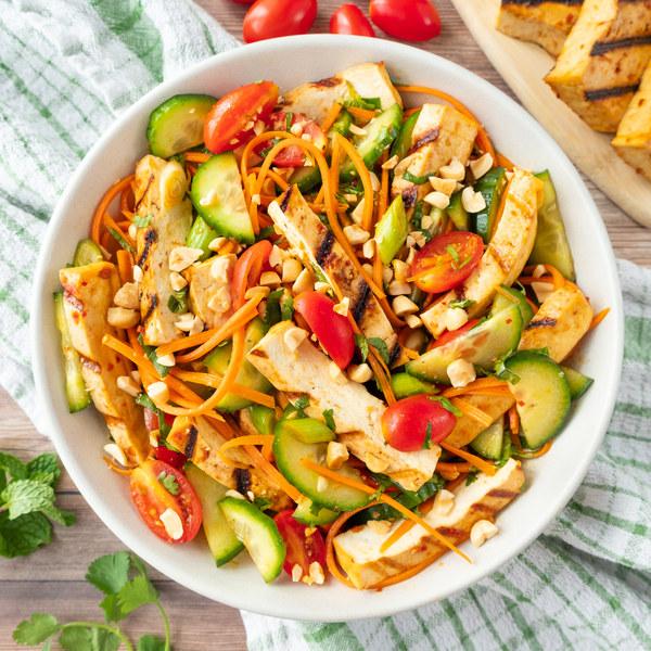 Asian Chili-Garlic Salad with Grilled Tofu, Peanuts & Fresh Herbs