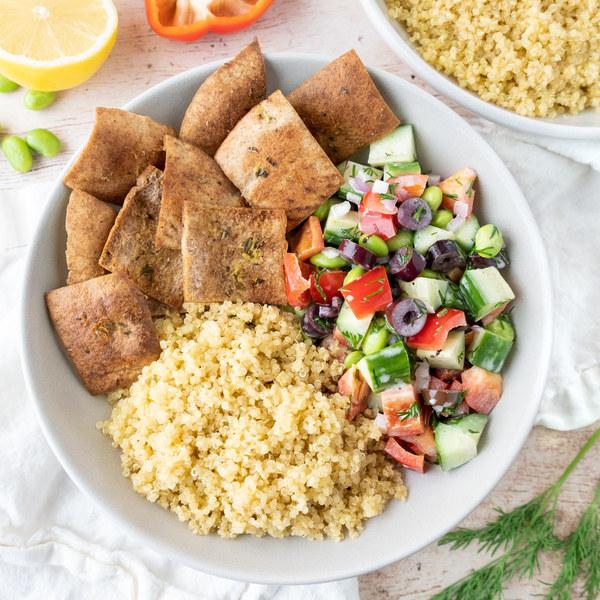 Greek-Style Quinoa & Edamame Salad Bowl with Pita Chips