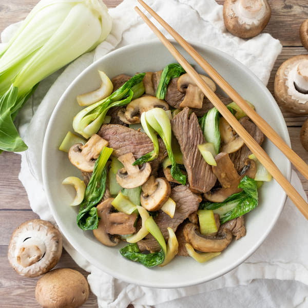 Beef, Ginger, Mushroom & Bok Choy Stir-Fry