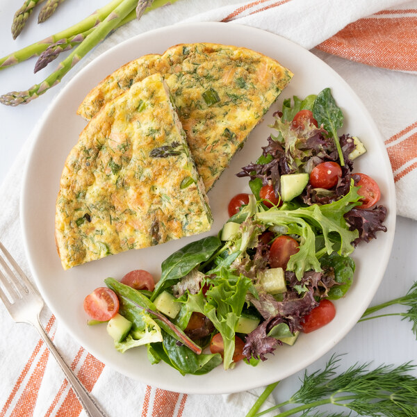 Smoked Salmon, Asparagus, Goat Cheese & Dill Frittata with Green Salad