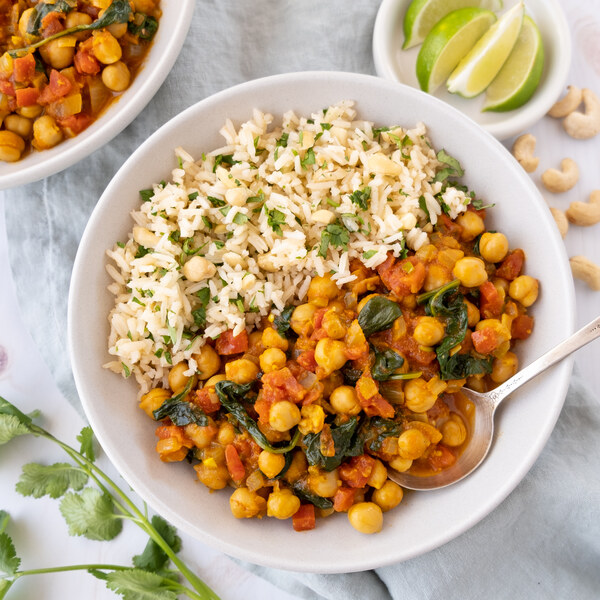 Spicy Chickpea Stew (Chana Masala) with Cilantro, Cashew & Lime Rice