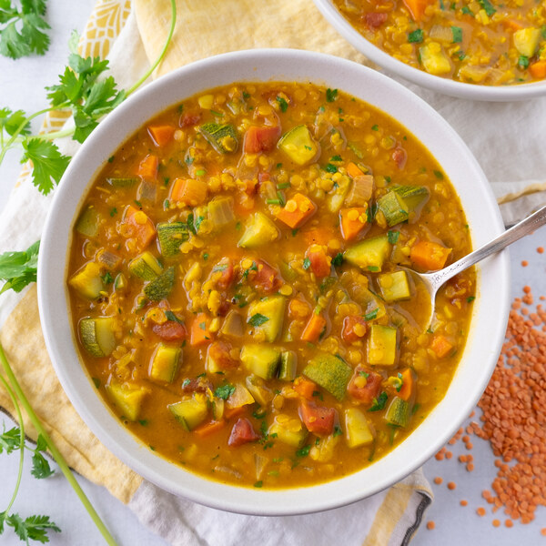 Curried Coconut-Red Lentil Soup with Veggies & Cilantro
