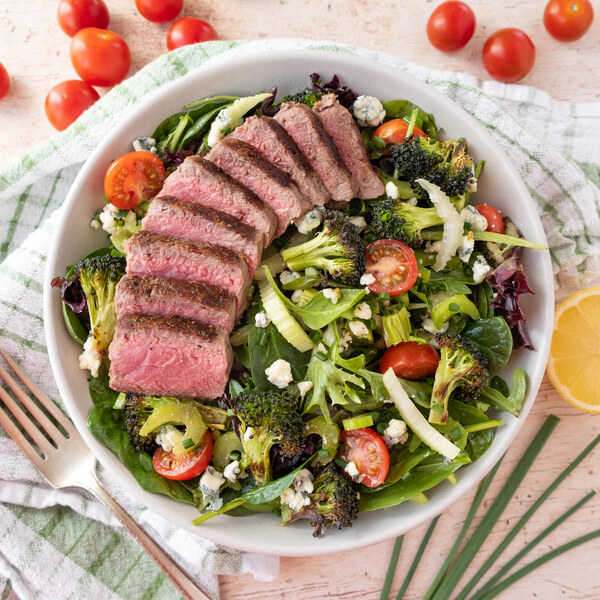 Steak Salad with Charred Broccoli, Celery, Tomatoes & Blue Cheese