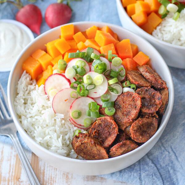 Spicy Sausage Rice Bowl with Butternut Squash, Radish & Lemon Sauce