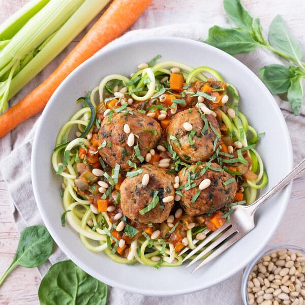 Turkey Meatballs with Zucchini Noodles, Veggie Sauce & Pine Nuts