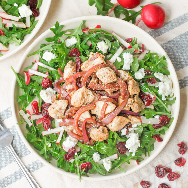 Balsamic Chicken Salad with Goat Cheese, Cranberries & Lemony Arugula