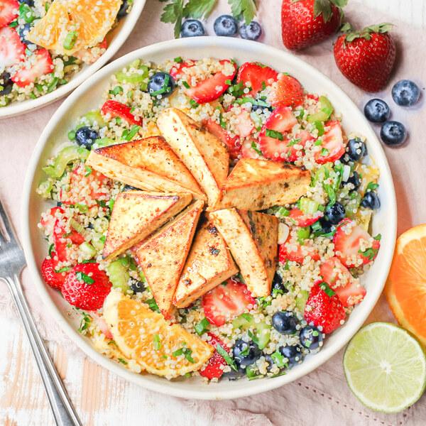 Citrus Marinated Tofu over Quinoa Salad with Berries & Oranges