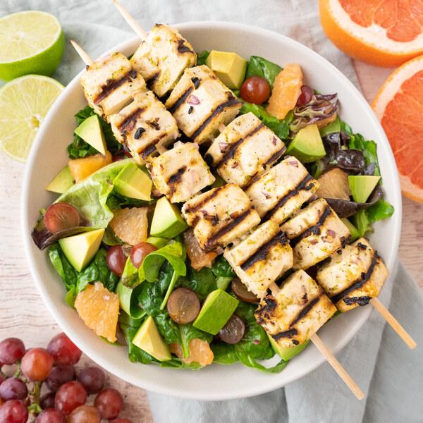 Ginger-Lime Tofu Skewers with Grape, Grapefruit & Avocado Salad