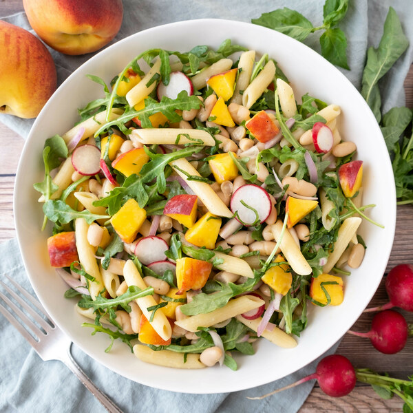 Pasta Salad with Peaches, White Beans, Radish, Arugula & Basil
