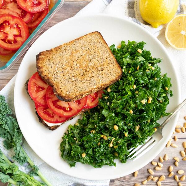 Southern-Style Tomato Sandwich with Pine Nut Kale Salad
